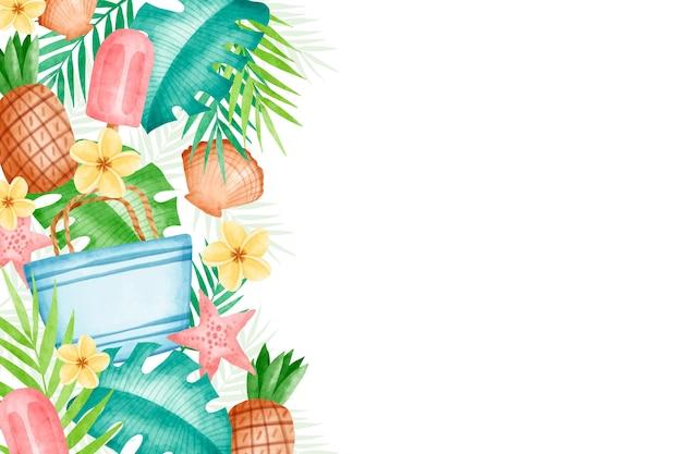 Watercolor summer wallpaper design Free Vector
