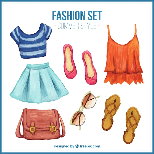 Watercolor summertime cute clothes Free Vector