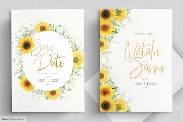 Set di carte dell'invito del fiore del sole dell'acquerello Vettore gratuito
