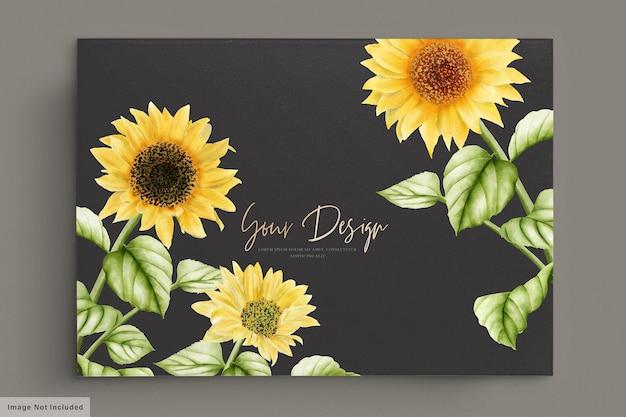 水彩の太陽の花の結婚式の招待カード 無料ベクター
