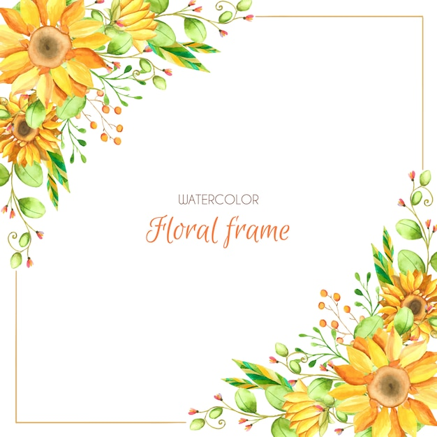 Watercolor sunflower background Premium Vector