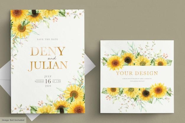 Set di carte di invito girasole acquerello Vettore gratuito