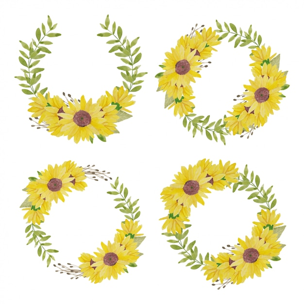 Watercolor sunflower wreath illustration Vector | Premium ...