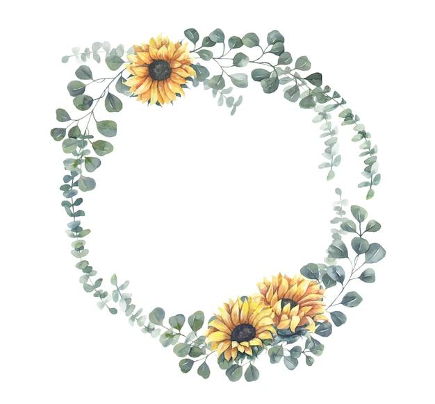 Watercolor sunflower wreath. Premium Vector