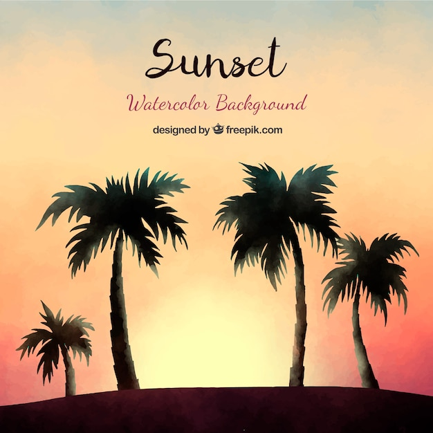 Watercolor sunset and palm silhouettes\ background