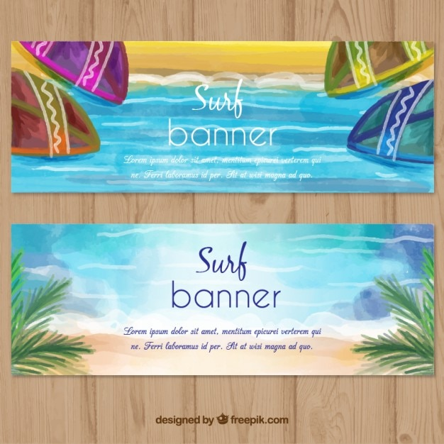 Watercolor surf banners