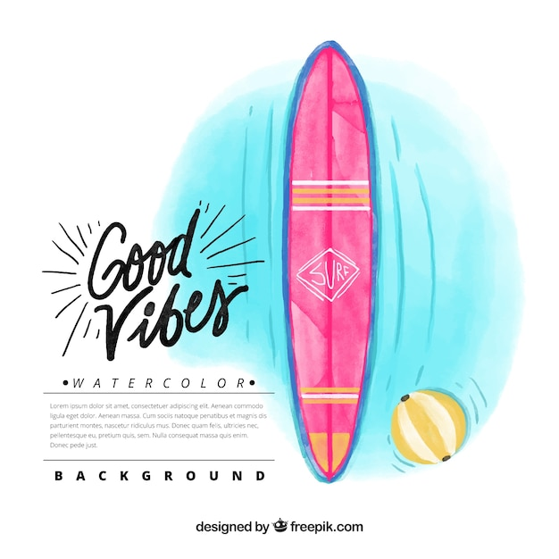 Watercolor surfboard background