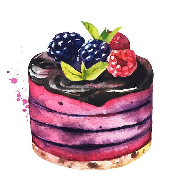 Watercolor sweet desserts. watercolor cake. Premium Vector
