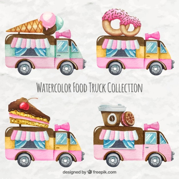 Watercolor sweet food truck collection