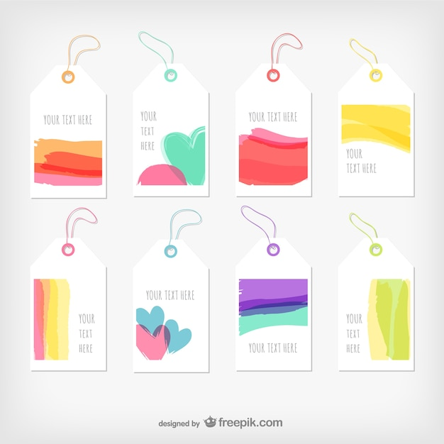 Watercolor tags Free Vector