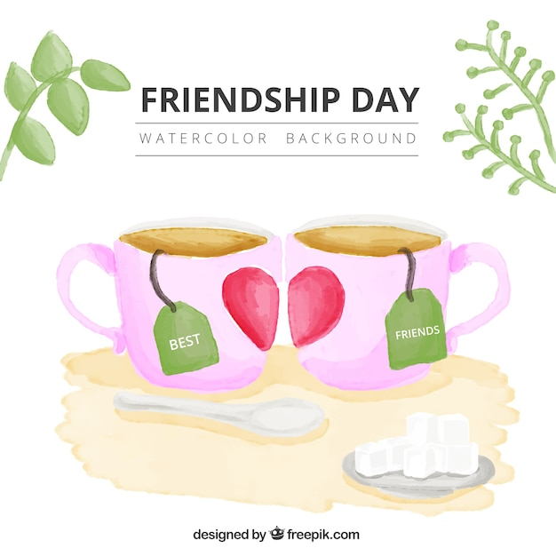 Friendship Quotes Vector : Watercolor Tea Cups Friendship Day Background  Vector