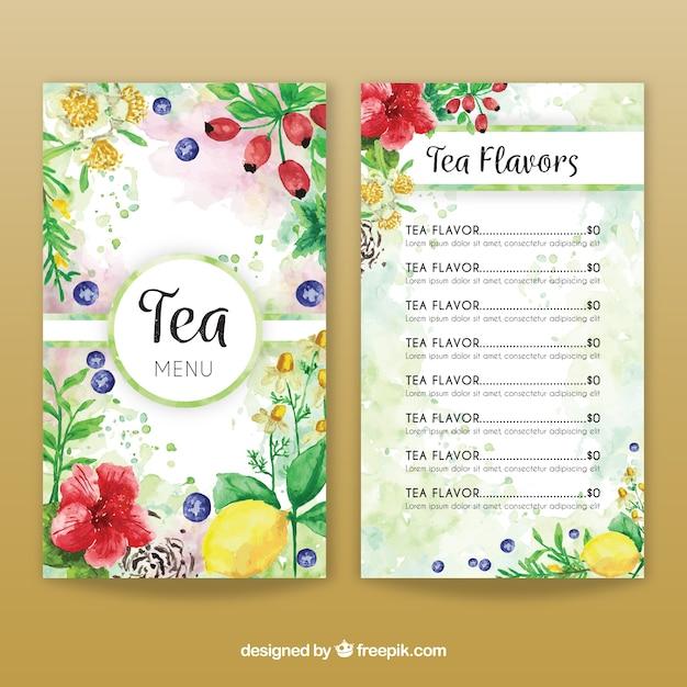 Watercolor tea menu template Free Vector