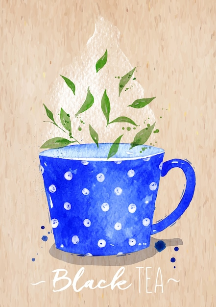 Watercolor teacup with black tea drawing on kraft paper background Premium Vector