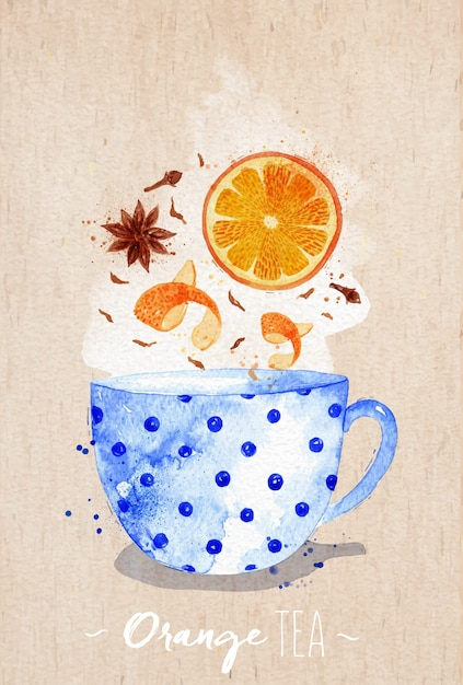 Watercolor teacup with orange tea, cloves, anise drawing on kraft paper background Premium Vector