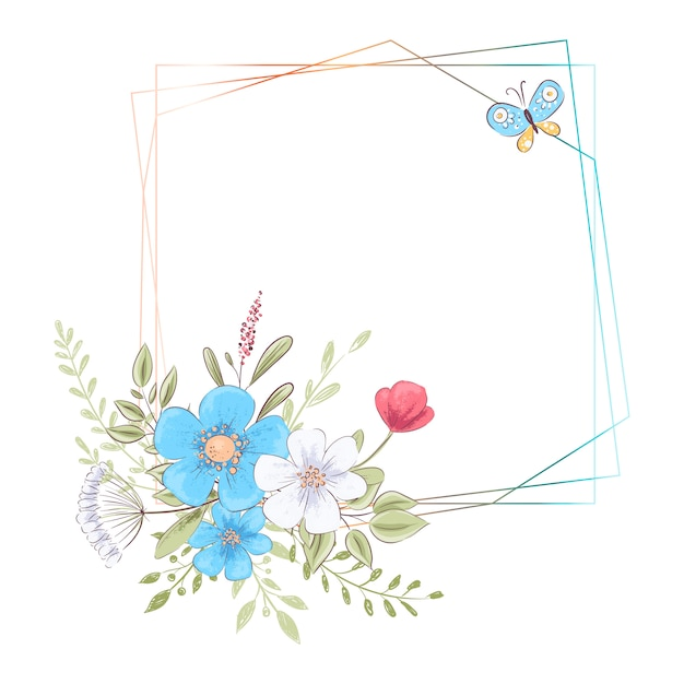 Watercolor template for a birthday wedding celebration with flowers and space for text Premium Vector