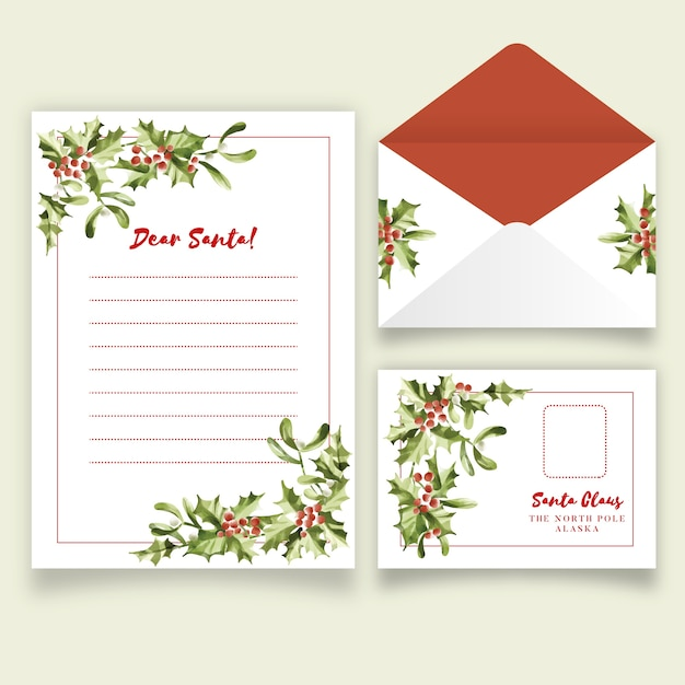 Christmas Stationery Template from image.freepik.com