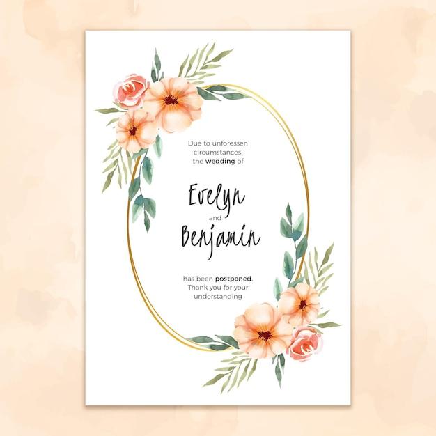 Акварельный шаблон для отложенной свадебной открытки Бесплатные векторы