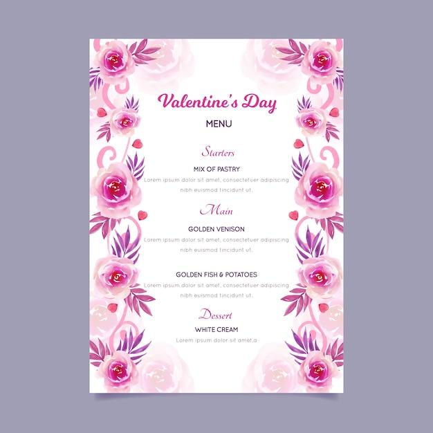 Watercolor template valentine's day menu Free Vector
