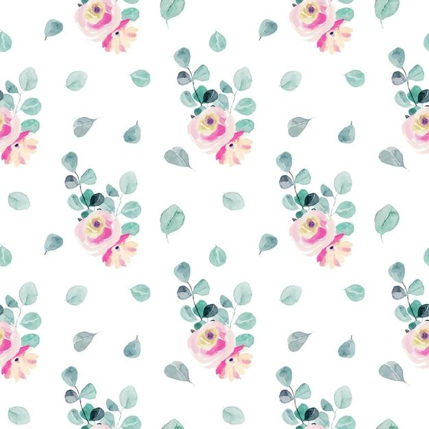수채화 부드러운 핑크 장미, 유칼립투스 가지와 잎 원활한 패턴 프리미엄 벡터