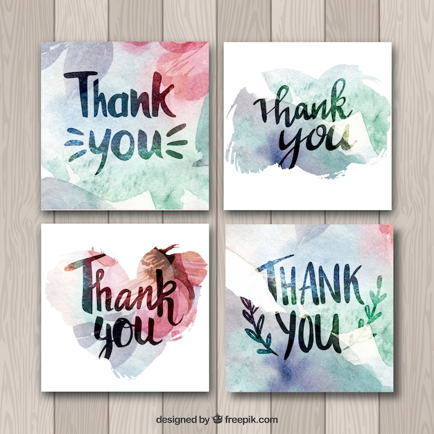 watercolor thank you cards collection vector free download
