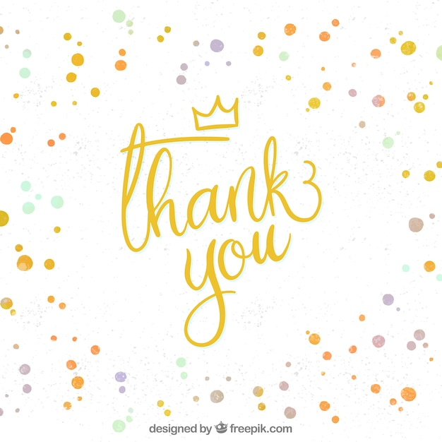 watercolor thank you composition with confetti vector free download