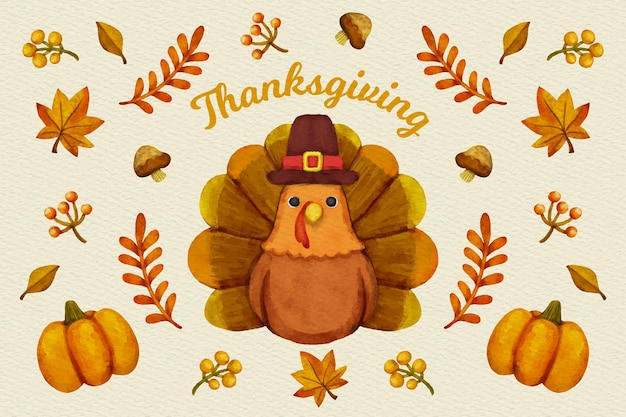 Watercolor thanksgiving background Premium Vector