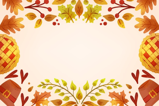 Watercolor thanksgiving background Free Vector
