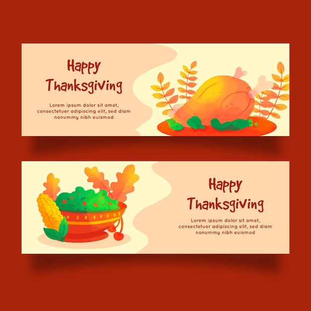 Watercolor thanksgiving banners template Free Vector