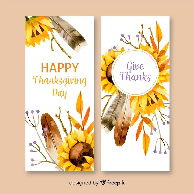 Watercolor thanksgiving banners Free Vector