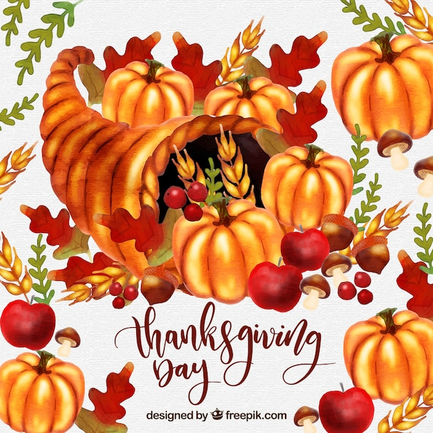 Watercolor thanksgiving day background with\ pumpkins and leaves
