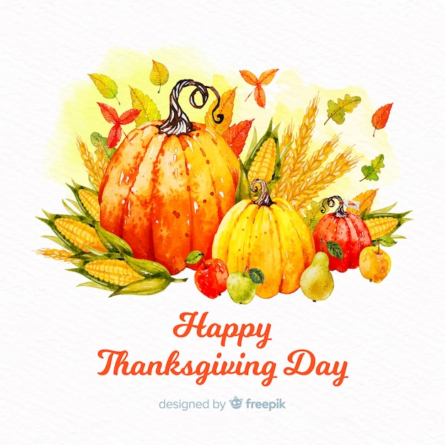 Watercolor thanksgiving day background Free Vector