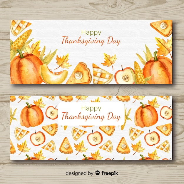 Watercolor thanksgiving day banner set Free Vector
