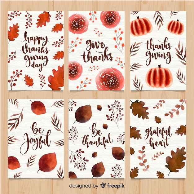 Watercolor thanksgiving day card collection Free Vector