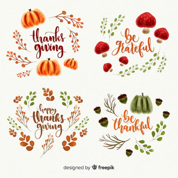 Watercolor thanksgiving day label collection Free Vector