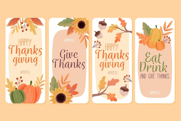 Watercolor thanksgiving instagram stories Free Vector