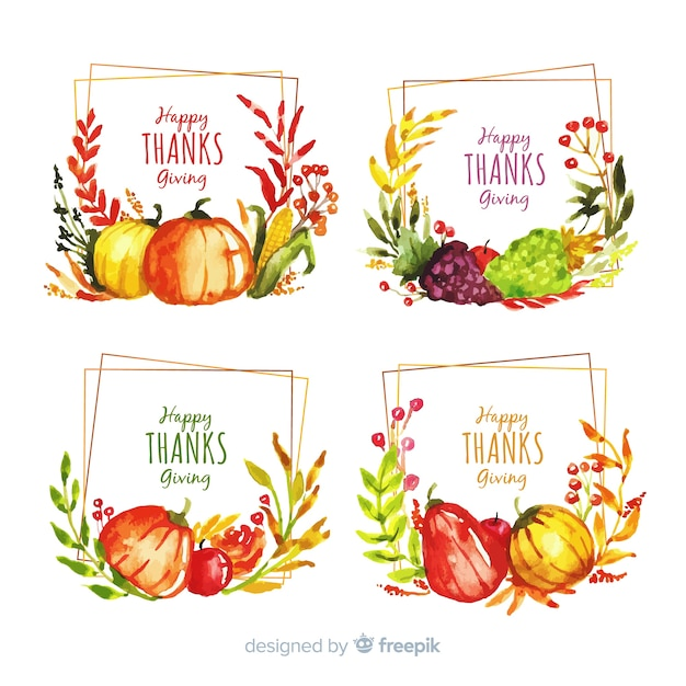 Watercolor thanksgiving label collection Free Vector