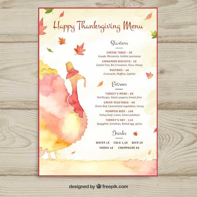 watercolor thanksgiving menu template vector free download. Black Bedroom Furniture Sets. Home Design Ideas