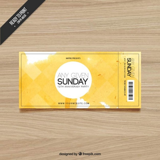 Watercolor ticket Free Vector