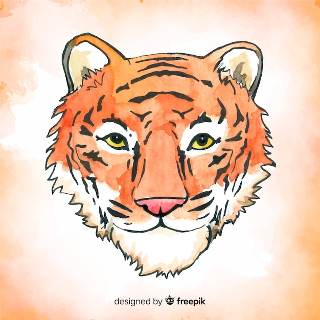 Watercolor tiger background Free Vector