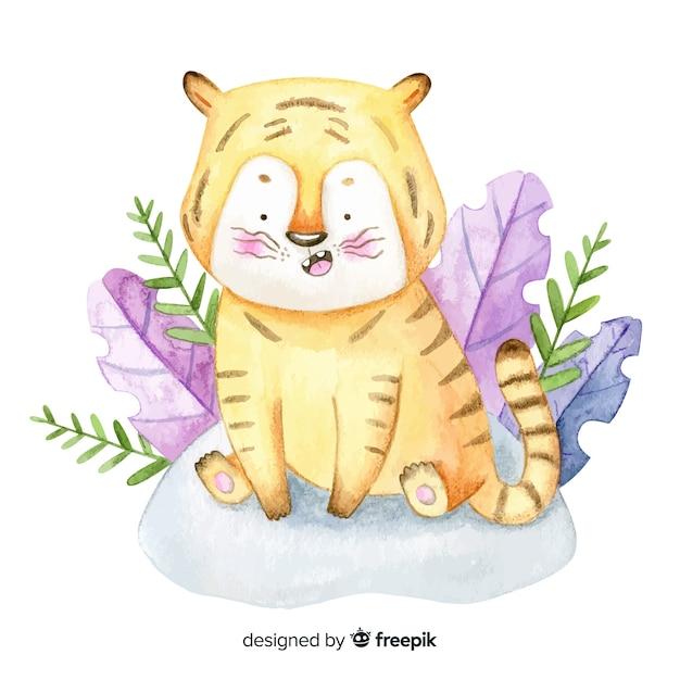 Watercolor tiger Free Vector
