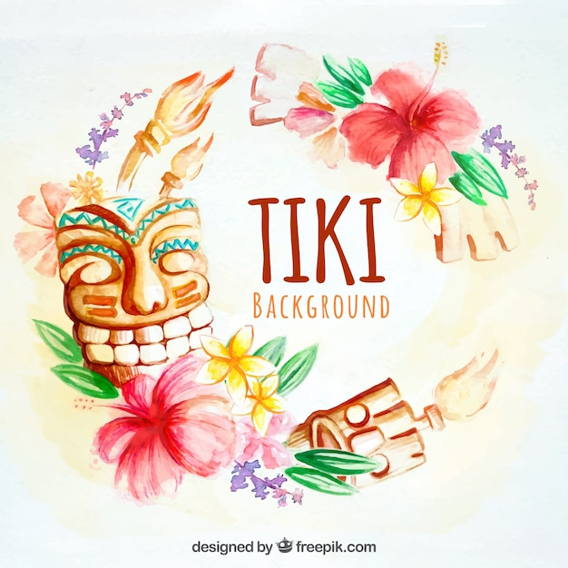 Watercolor tiki background Free Vector
