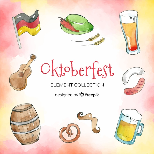 Watercolor traditional oktoberfest element collection Free Vector