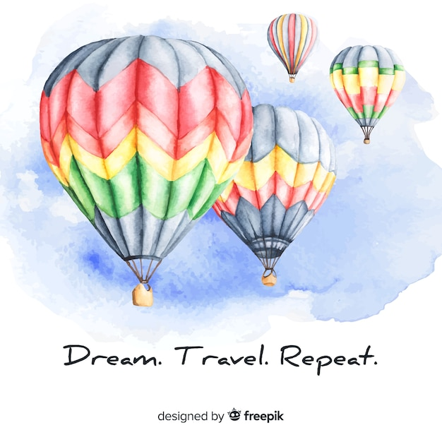 Watercolor travel background with motivational quote Free Vector