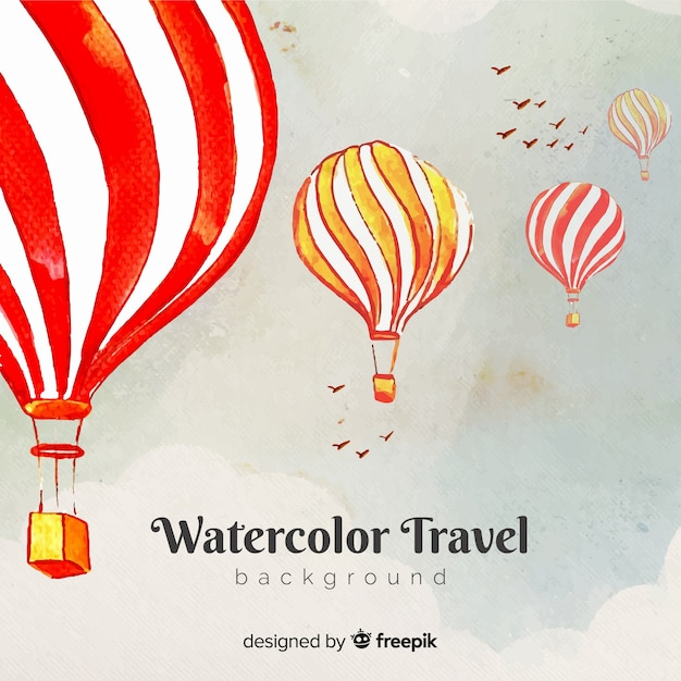 Watercolor travel background Free Vector