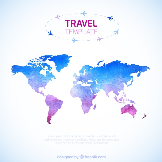 Watercolor travel map template vector free download watercolor travel map template free vector gumiabroncs Gallery