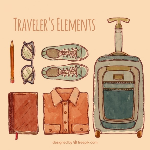 Watercolor traveler objects collection Premium Vector