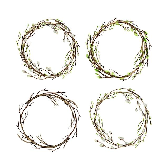 녹색 잎, 갯버들과 수채화 나무 가지. 프리미엄 벡터