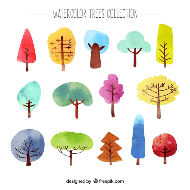 Watercolor trees collection Premium Vector