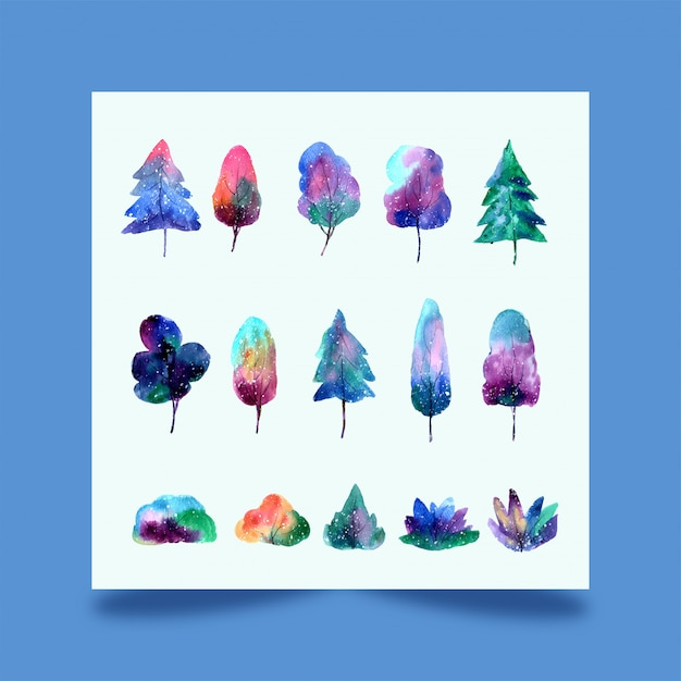 Watercolor trees forest Premium Vector