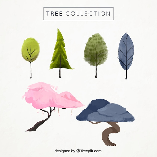 Watercolor trees in different colors